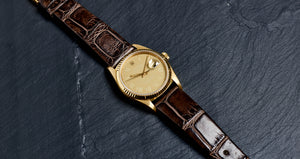 Rolex 18K Yellow Gold Oyster Perpetual Sand Buckley Datejust Vintage Watch | Veralet