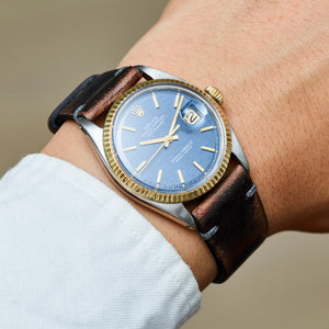 Rolex Two-Tone Oyster Perpetual Blue Wave Datejust Vintage Watch | Veralet