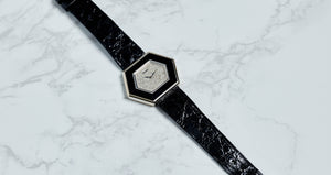 Piaget 18K White Gold Diamond and Onyx Geometric Dress Vintage Watch | Veralet