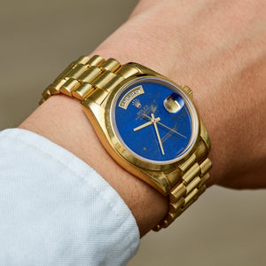 Rolex 18K Yellow Gold Oyster Perpetual Lapis Lazuli Day-Date President Vintage Watch | Veralet