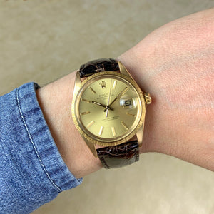 Rolex 18K Yellow Gold Oyster Perpetual Date Vintage Watch with Champagne Dial and Morellis Finish | Veralet