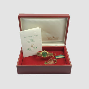 Rolex 18K Yellow Gold 26mm Ladies Green Stella Vintage President Watch | Veralet