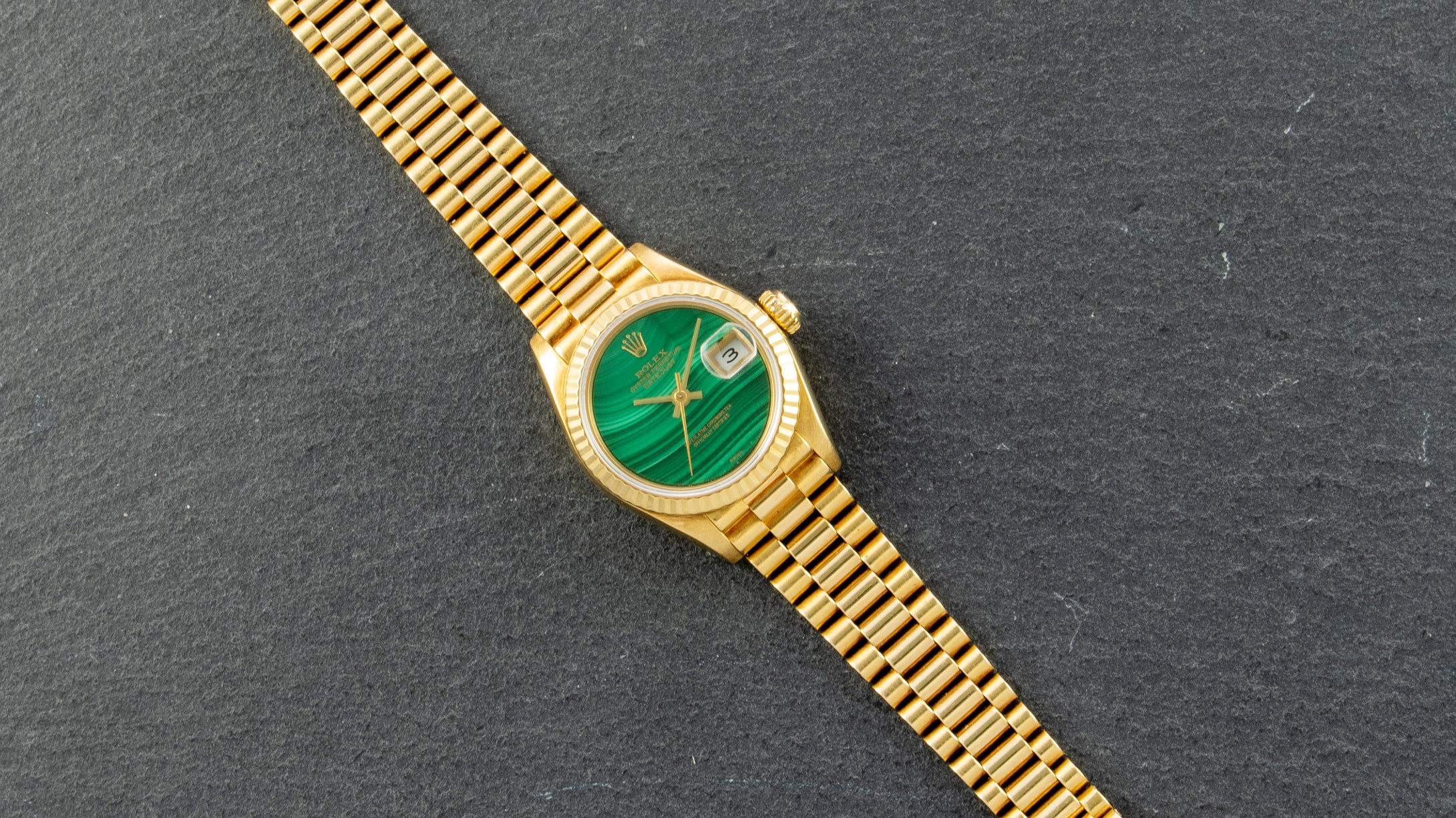 Rolex 18K Yellow Gold Ladies Oyster Perpetual Datejust Vintage Watch with Factory Malachite Dial | Veralet