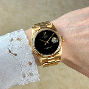 Rolex 18K Yellow Gold Oyster Perpetual Datejust President Vintage Watch with Black Onyx Dial | Veralet