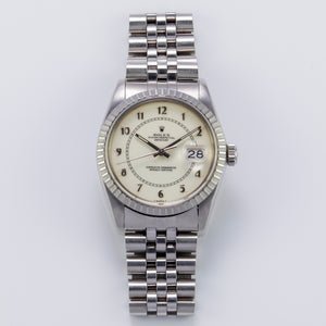 Rolex Stainless Steel Eggshell-Colored Enameled Boiler Gauge Datejust Vintage Watch | Veralet