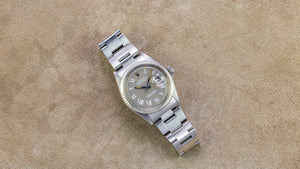 Rolex Stainless Steel and 18K White Gold Taupe Buckley Datejust Vintage Watch | Veralet