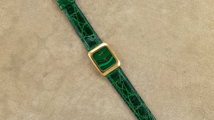 Piaget 18K Yellow Gold Quartz Tank Malachite Vintage Watch | Veralet