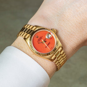Rolex 18K Yellow Gold Ladies Oyster Perpetual Coral Datejust Watch | Veralet