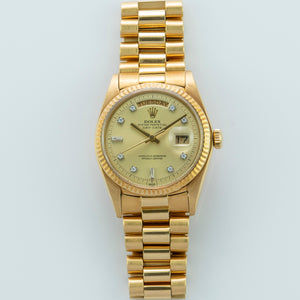 Rolex 18K Yellow Gold Oyster Perpetual Day-Date President Watch with Factory Champagne Diamond Dial | Veralet