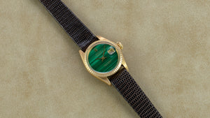 Rolex 18K Yellow Gold Ladies Oyster Perpetual Datejust Watch with Factory Malachite Dial | Veralet
