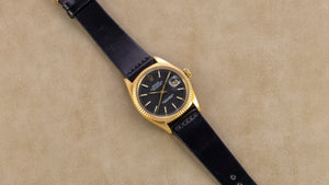 Rolex 18K Yellow Gold Oyster Perpetual Datejust Vintage Watch with Black Dial | Veralet