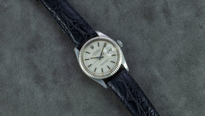 Rolex Stainless Steel and 18K White Gold Oyster Perpetual Datejust Vintage Watch with Pewter Dial | Veralet