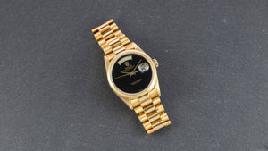 Rolex 18K Yellow Gold Oyster Perpetual Day-Date President Watch with Black Onyx Dial | Veralet