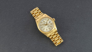 Rolex 18K Yellow Gold Day-Date President Watch with Silver Dial and Factory Morellis Finish | Veralet