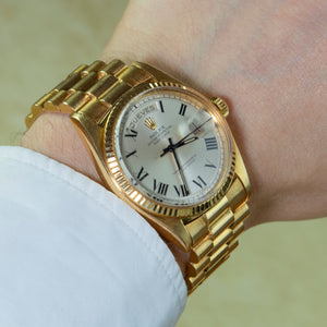 Rolex 18K Yellow Gold Oyster Perpetual Day-Date President Watch with Silver Buckley Dial | Veralet