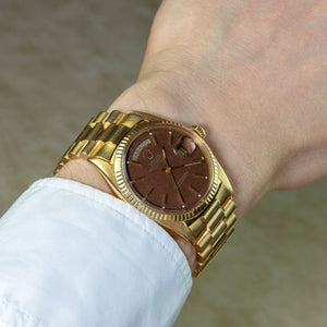 Rolex 18K Yellow Gold Oyster Perpetual Day-Date President Watch with Brown Confetti Dial | Veralet