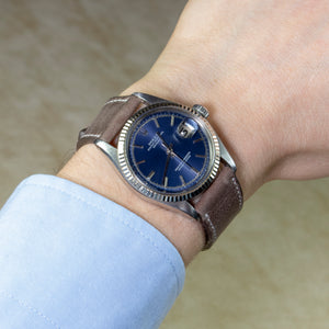 Rolex Stainless Steel and 18K White Gold Oyster Perpetual Datejust Vintage Watch with Blue Sigma Dial | Veralet