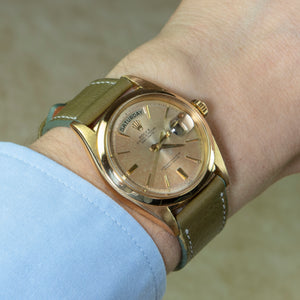 Rolex 18K Yellow Gold Oyster Perpetual Day-Date Vintage Watch with Swiss Doorstep Dial | Veralet