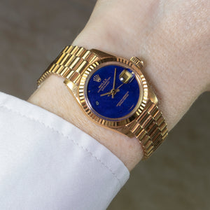 Rolex 18K Yellow Gold Ladies Oyster Perpetual Datejust Vintage Watch with Factory Lapis Lazuli Dial and Original Box and Papers | Veralet