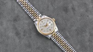 Rolex Stainless Steel and Yellow Gold Oyster Perpetual Silver Linen Datejust Watch with Original Box and Papers | Veralet