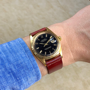 Rolex 18K Yellow Gold Black Gilt Datejust Vintage Watch | Veralet