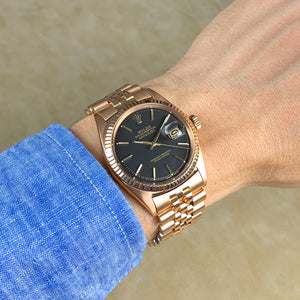 Rolex 18K Rose Gold Datejust Black Matte Vintage Watch | Veralet