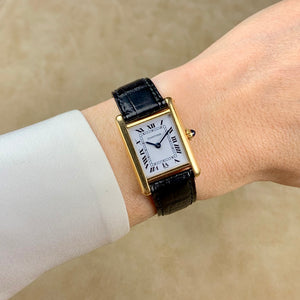 Cartier 18K Yellow Gold Ladies Tank Manual Wind Swiss Watch | Veralet