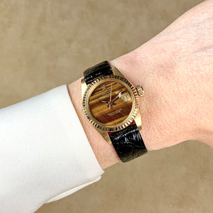 Rolex 18K Yellow Gold Ladies 26mm Tiger's Eye Datejust Vintage Watch | Veralet