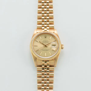 Rolex 18K Yellow Gold Oyster Perpetual Champagne Dial Datejust Watch | Veralet