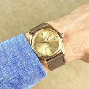 Rolex 18K Yellow Gold Oyster Perpetual Champagne Datejust Vintage Watch | Veralet