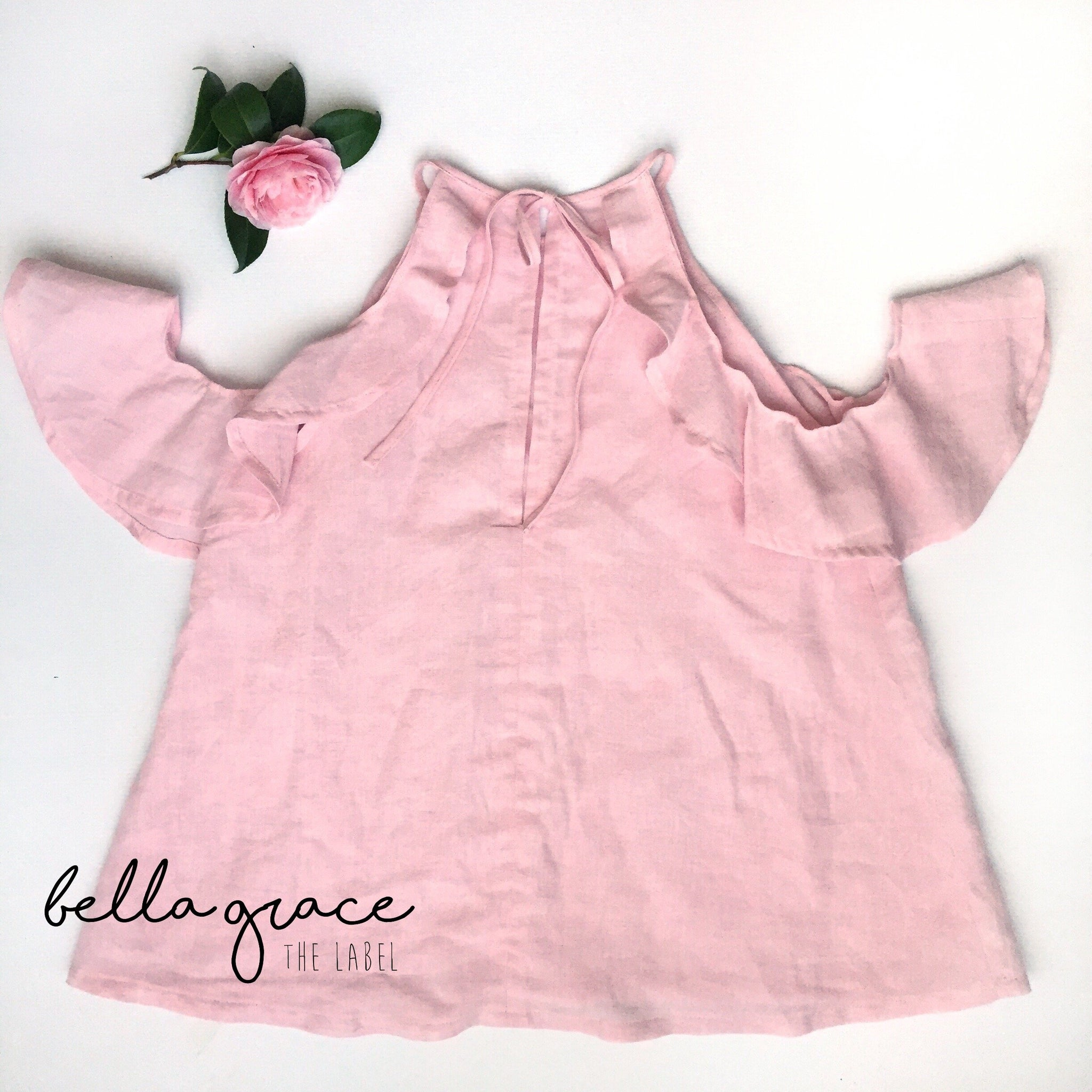Estelle Blouse in Baby Pink Linen Blend