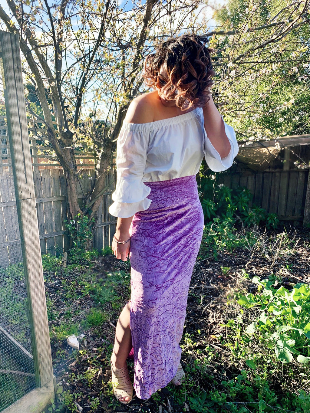 Crushed velvet maxi skirt in Spring Fusion