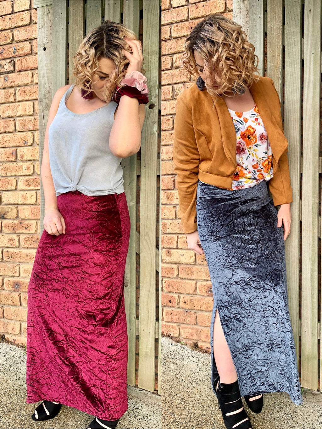 Crushed velvet maxi skirt