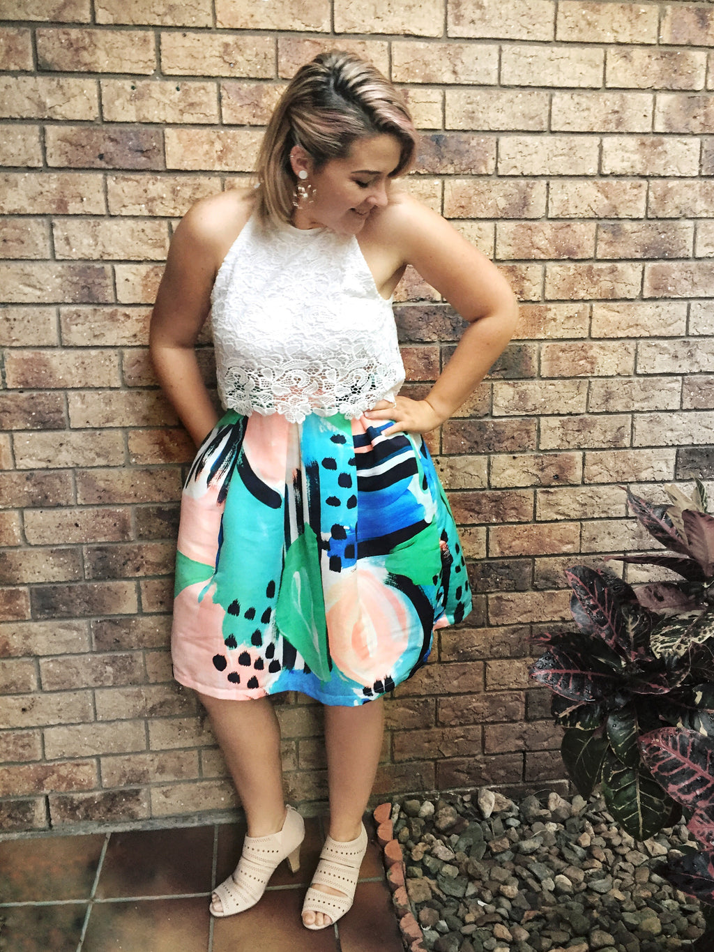 Fitted Skirt in Abstract