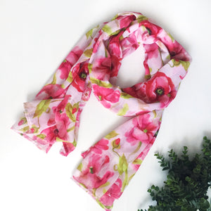 XL Scarf - Pink Poppies