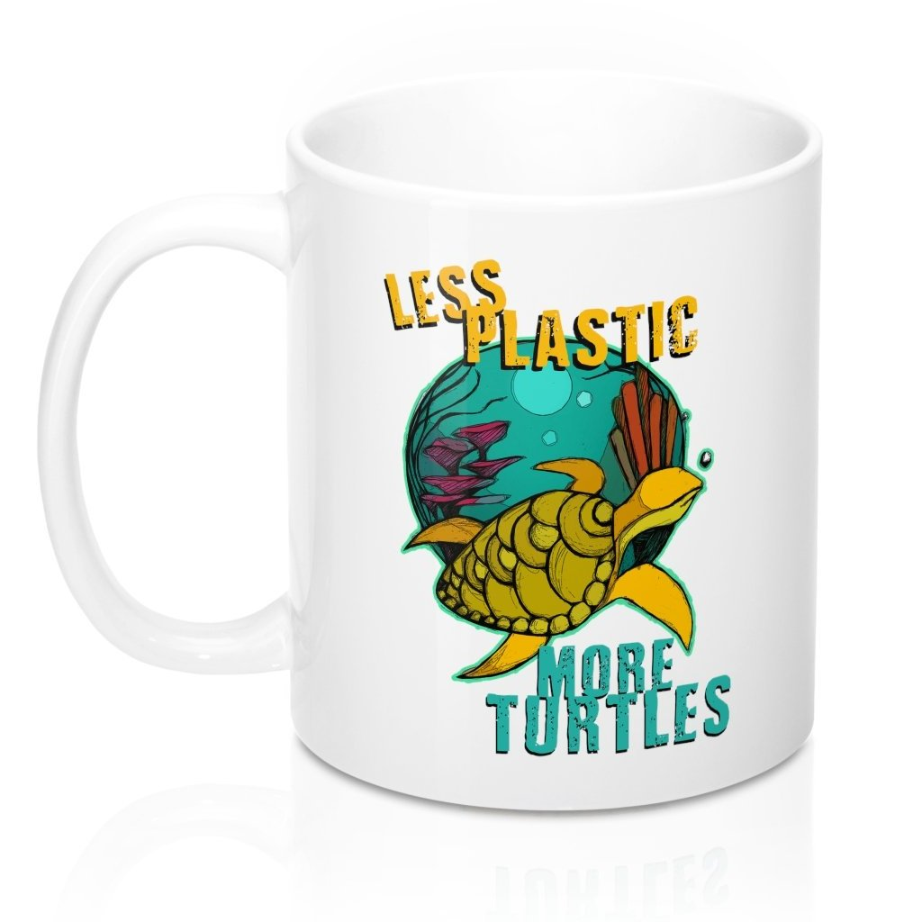 Less Plastic More Turtles Coffee Mug - ARISTAEZ