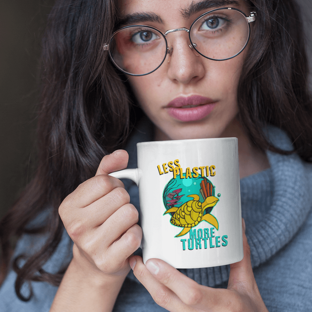Less Plastic More Turtles Mug - Coffee Mugs For Sale | Theawakenwave