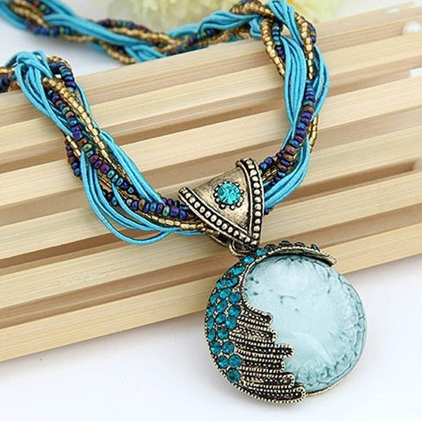 Turquoise Boho Pendant - Necklace For Sale | Theawakenwave