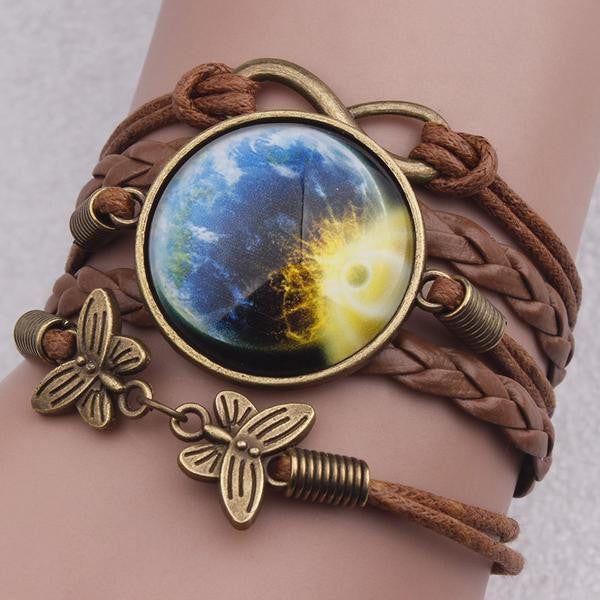 Vintage Earth/Sun Bracelet - Leather Bracelet For Sale | Theawakenwave