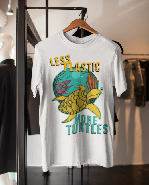 Less Plastic More Turtles - Printed T-shirt For Sale | Theawakenwave