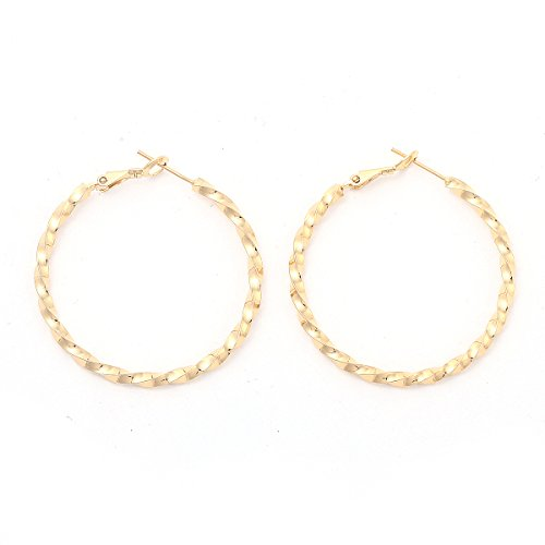 a9b78372a8e6 Followmoon 18K Gold Plated Women s Rope Twist Hoop Earrings