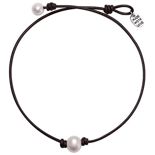 26ac840cf4a62 Single Cultured Freshwater Pearl Choker Necklace Handmade Genuine Leather  One Bead Jewelry for Women