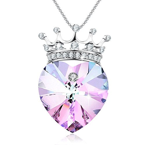 GEORGE SMITH Young Princess Crown Pendant Necklace Heart Shaped Wedding Birthday Jewelry For Girlfriend Daughter