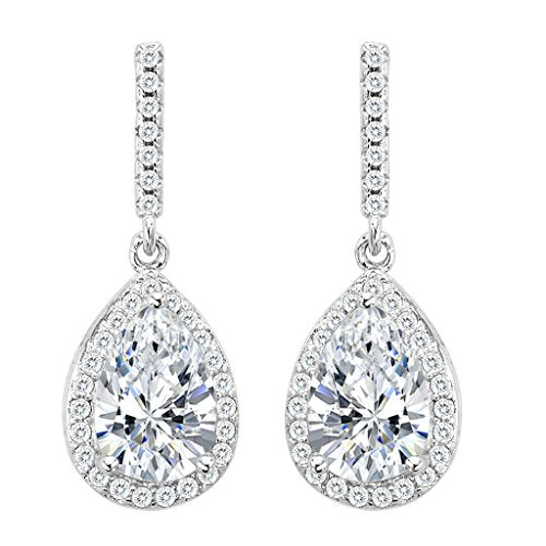 22ea6bf9d7ae EleQueen 925 Sterling Silver Full Cubic Zirconia Teardrop Bridal Dangle