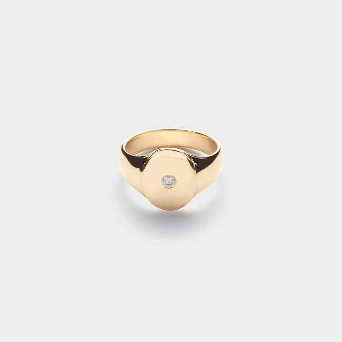 yellow gold diamond center ring; statement ring