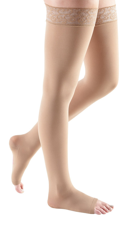 mediven comfort, 15-20 mmHg, Thigh High w/ Lace Top-Band, Open Toe