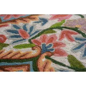 Agatha Handmade Rectangle Artisan Rug - Closeup - Carmine & Teal