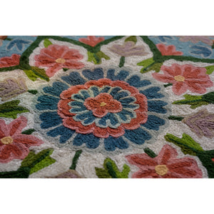 Carmine & Teal - Agatha Handmade Rectangle Artisan Rug - Closeup