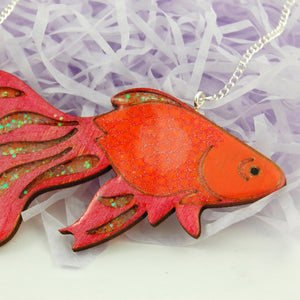 Ruby Owl Large Goldfish Glitter Necklace