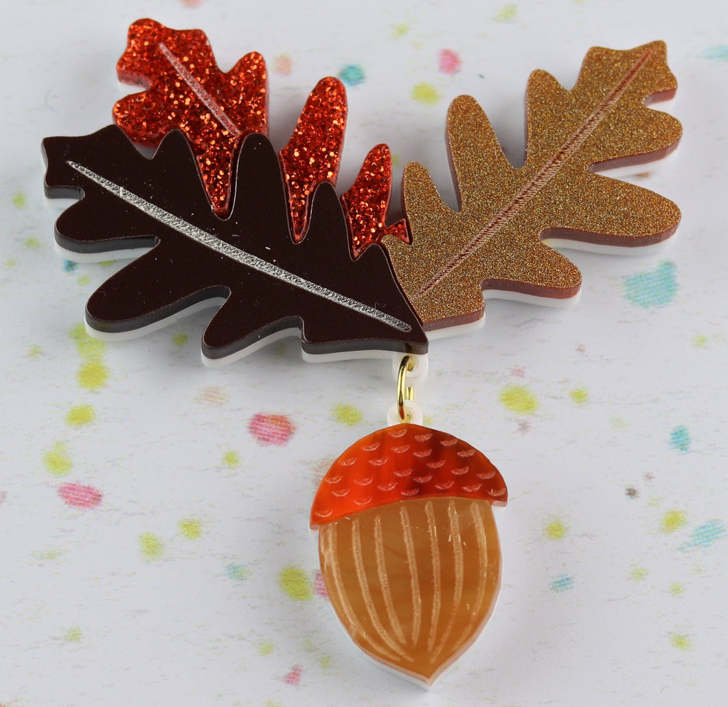 Ruby Owl Acorn Brooch